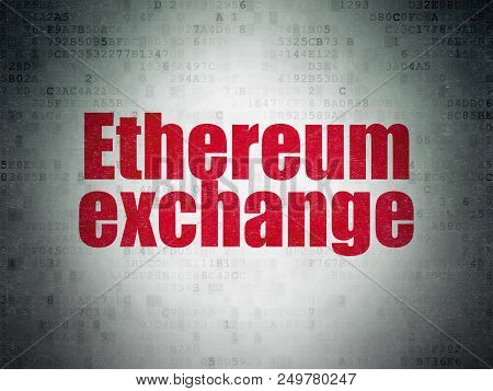 Cryptocurrency Concept: Painted Red Word Ethereum Exchange On Digital Data Paper Background