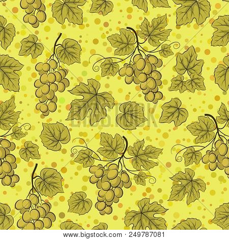 Seamless Background, Green Grape Bunches, Tile Pattern With Berries And Leaves.