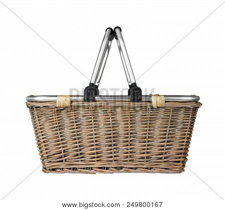 Modern Wicker Basket With Metal Handle, Cut Out Side View