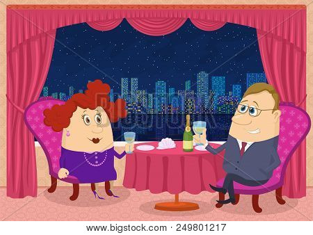 Respectable Gentleman And Fat Lady Near Table Raising Toast In Restaurant With View On Night City, C