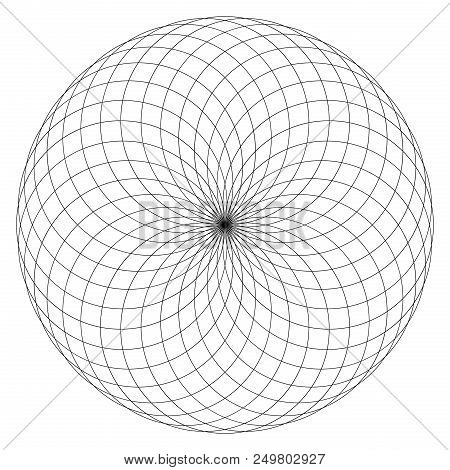 Geometrical Figure On Black And White. Sacred Geometry Torus Yantra Or Hypnotic Eye Vector Illustrat