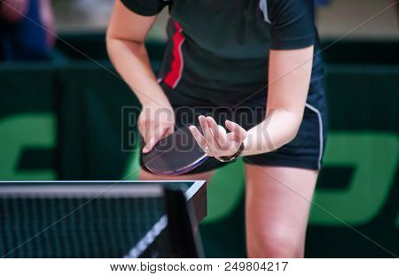 Female Table Tennis Player serving