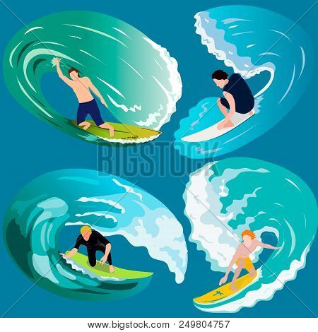 Surfing, Sport, Summer, Relax, Ocean, Sea, Beach, Vector.