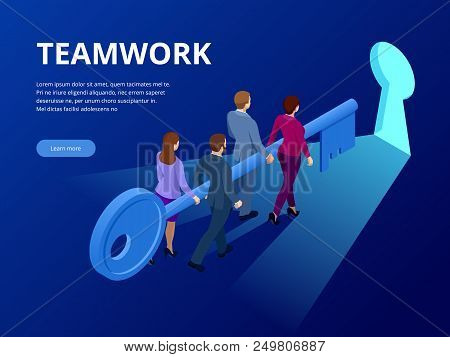 Isometric Business Success Key Concept. Business Teamwork Key Of Success Concept. Group Of People Li