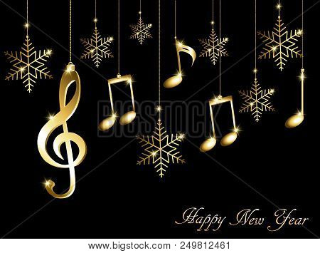 abstract new year background with musical notes treble clef and snowflakes