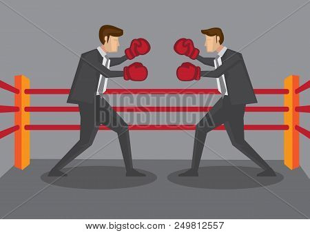 Two Business Executives Wearing Boxing Gloves Fighting In Boxing Ring. Creative Cartoon Vector Illus