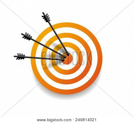 Target With Three Arrow In Center. Arrows Hit The Target. Business Concept. Vector Illustration Eps1