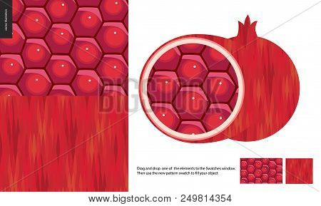 Food Patterns, Fruit, Flat Vector Illustration - Two Vector Seamless Patterns Of Pomegranate Pulp -