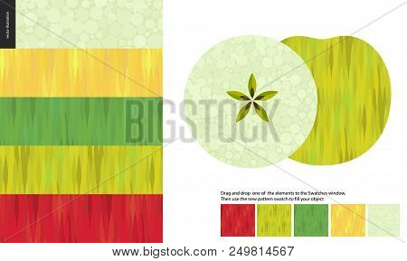 Food Patterns, Flat Vector Illustration - Apple Texture, Half Of Green Apple Image On Side, Five Sea