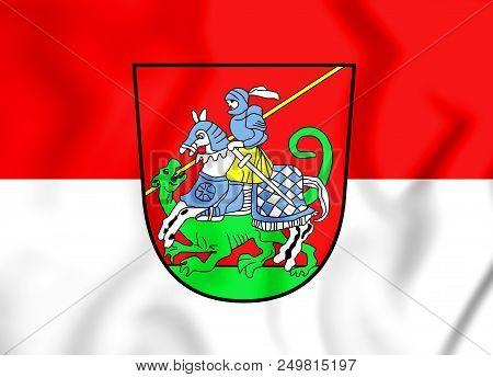 3d Flag Of Bad Aibling (bavaria), Germany. 3d Illustration.