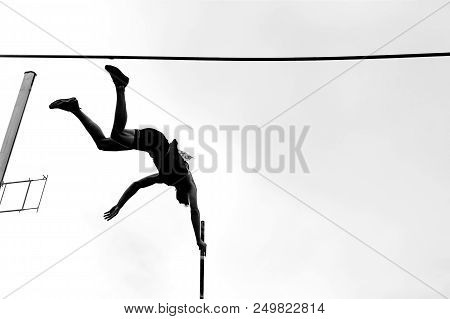 Pole Vault Athlete Pole Vaulter Jump In Athletics Black And White Image