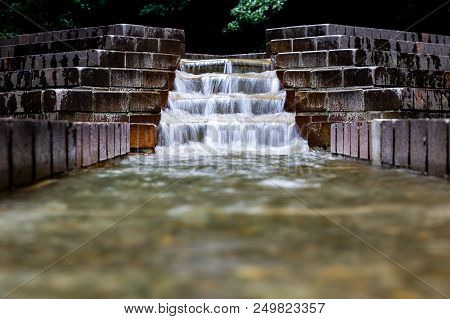 A Longer Exposure Shot Of A Cascade Fountain In Serigaya Park In Machida, Tokyo, Japan