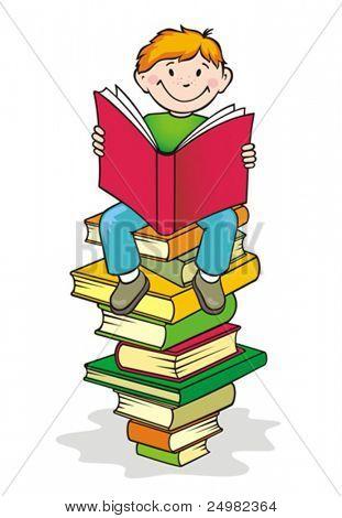 Regreso a la escuela. Niño lee un libro.