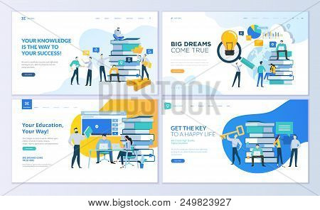 Set Of Web Page Design Templates For Education, Know How, University, Business Solutions. Modern Vec