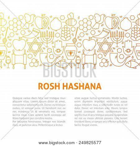 Rosh Hashana Line Design Template. Vector Illustration Of Outline Banner.