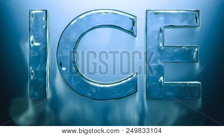 ice cold word ice with falling smoke 3d rendering