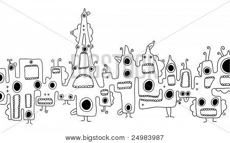 skyline creatures doodles on Paris Eiffel Tower - France