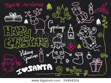 Merry christmas happy holidays doodles