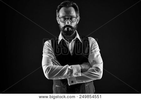 Confident Businessman. Confident Businessman In Glasses Keep Arms Crossed. Confident Businessman Wit