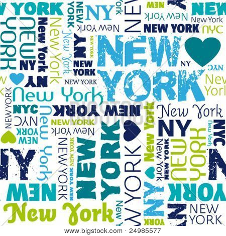 I love my New York typography seamless background pattern in vector