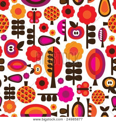 Seamless orange red retro flower with apple pear butterfly pattern in vector