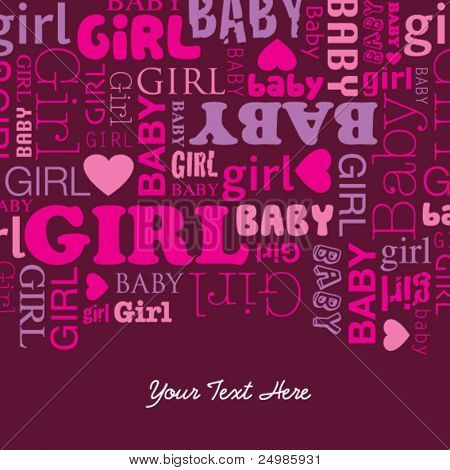 Cute baby girl has born card design template in vector