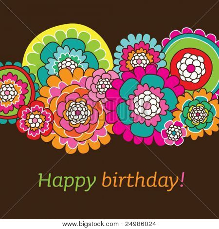 Seamless doodle flowers birthday card design background pattern in vector