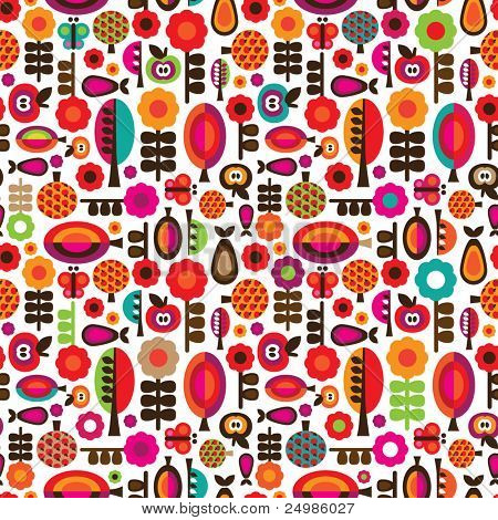 Seamless orange red retro flowers with fruit and butterfly pattern in vector