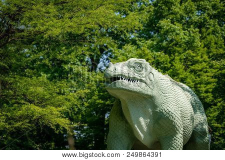 Dinosaur Sculpture In The Crystal Palace Public Park In London