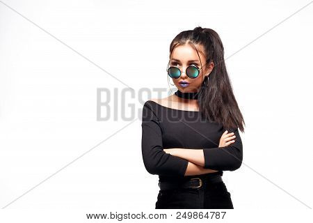 Portrait Of Cool Crazy Brunette Fashionable Girl In Sunglasses, Casual Hairdo On White Background. W