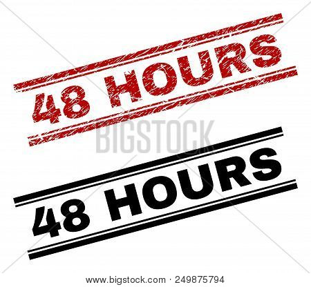 48 Hours Stamp Seal Print With Red Corroded And Clean Black Version. Red Vector Rubber Print Of 48 H
