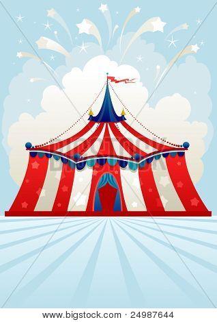 Tenda de circo com espaço para texto