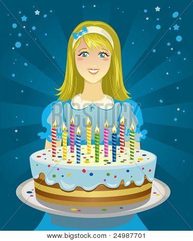 Картинки девочка с тортиком