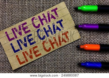 Handwriting Text Writing Live Chat Live Chat Live Chat. Concept Meaning Talking With People Friends