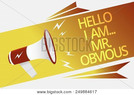 Text Sign Showing Hello I Am.. Mr.obvious. Conceptual Photo Introducing Yourself As Pouplar Or Famou