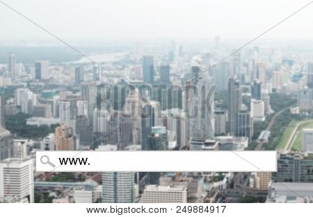Www. On Search Bar Over Blur City Background, Business And Technology Concept, Web Banner