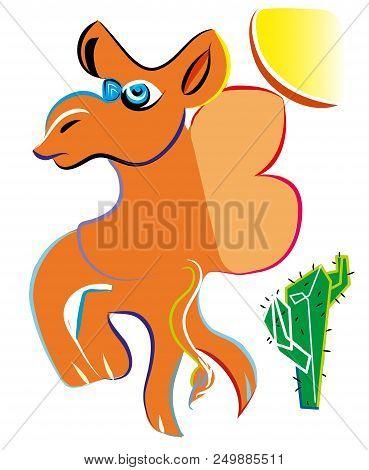 Camel Walking In The Desert. Illustration Of Surreal Camel Walking In The Desert Background