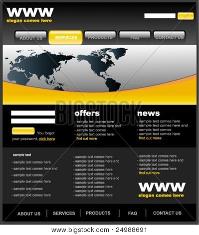 Modern black and yellow web2 website template