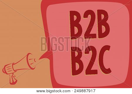 Writing note showing B2B B2C. Business photo showcasing two types for sending emails to other people Outlook accounts Megaphone loudspeaker speech bubble important message speaking loud poster
