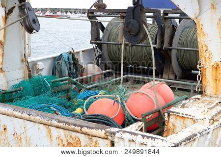 Commercial Fishing Gear In An Iceland Harbor