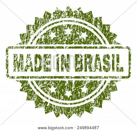 Made In Brasil Stamp Seal Watermark With Rubber Print Style. Green Vector Rubber Print Of Made In Br