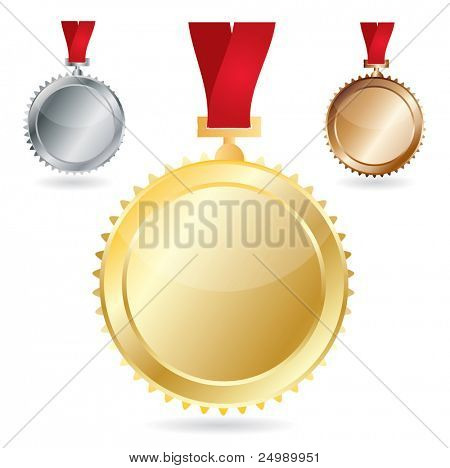 Vector awards as medals - gold, silver and bronze