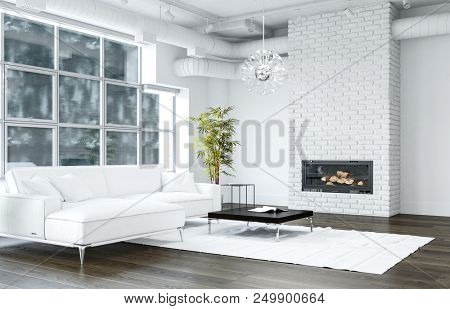 White living room with brick texture fireplace next to sofa and black table standing on white rug and modern chandelier hanging from ceiling. 3d Rendering