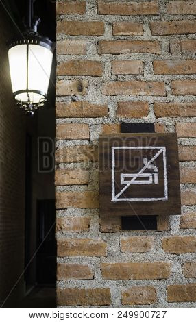 No Smoking Sign In Pubic Place, Stock Photo