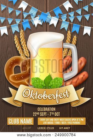 Oktoberfest Party Flyer Template. Vector Illustration With Beer Glass, Sausages, Hops And Wheat On W