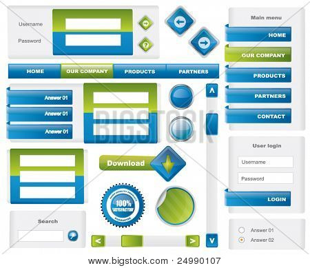 Modern website template elements - blue and green