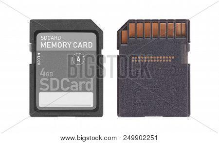 Memory Card Isolated On White Background - 4 Gigabyte