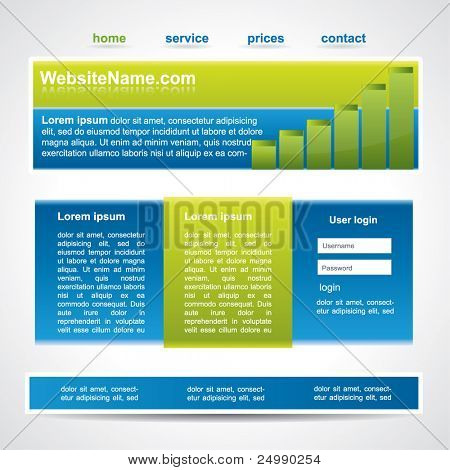 Web2 website template in three main element
