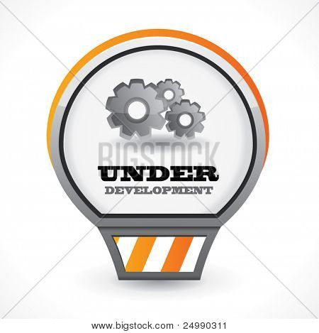 Under development vector icon with gears over white background