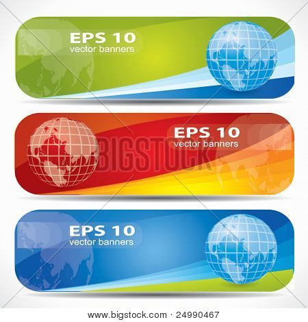 Web2 colorful banner set with the Earth on them, editable vector composition